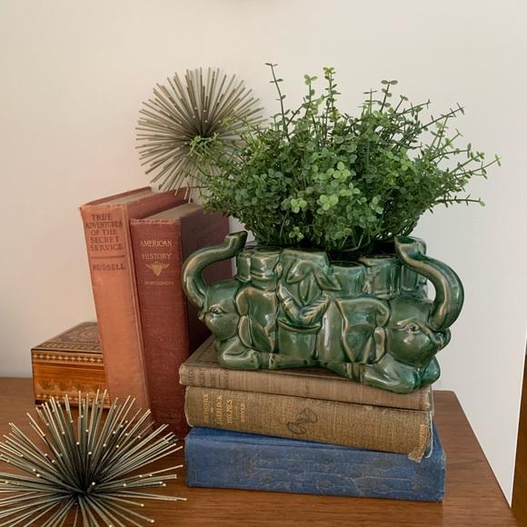Vintage Majolica Style Elephant Planter